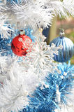 White Christmas tree transparent snowflake ornaments Royalty Free Stock Photography