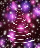White christmas tree in violet Royalty Free Stock Photo