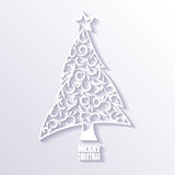 White Christmas Tree on White Background, Flat Design. Royalty Free Stock Photos