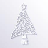White Christmas Tree on White Background, Flat Design. Royalty Free Stock Photos