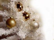 White Christmas tree ,White Gold Balls decoration royalty free stock photo