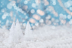 White Christmas trees and Bokeh Lights Royalty Free Stock Photos