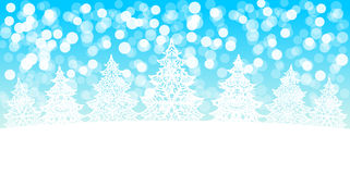 White Christmas trees decoration on snow bokeh background Royalty Free Stock Images