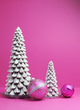White Christmas trees and pink baubles festive holiday still life Stock Photography
