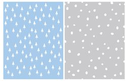White Christmas Trees of Trinagle Shape Isolated on a Light Blue Background. Irregular Polka Dots on a Gray Layout. vector illustration