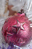 White Christmas vintage metal red ball ornament Royalty Free Stock Image