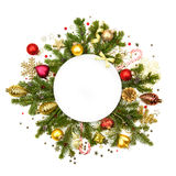 White Christmas white round with baubles, stars and fir - isol stock image