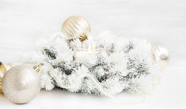 White Christmas Wreath with Burning Candle,Ribbon and Globes Stock Photos