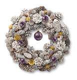 White Christmas wreath purple balls Royalty Free Stock Photography