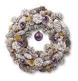 White Christmas wreath purple balls royalty free stock photography