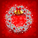 White Christmas wreath on red background Royalty Free Stock Photo