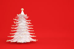 White christmastree on red. Background with golden decorations Royalty Free Stock Image