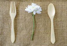 White chrysanthemums with fork. On sackcloth Royalty Free Stock Photography