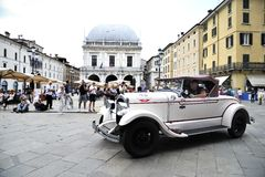 A white Chrysler 72. BRESCIA (BS), ITALY - MAY 14: A white Chrysler 72 takes part to the 1000 Miglia classic car race on May 14, 2015 in Brescia (BS). The car Royalty Free Stock Photography