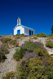 White church. White greek church on the hill Royalty Free Stock Images