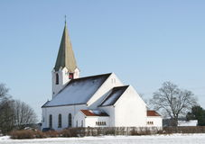 White church. Rolvsøy church in Fredrikstad, Norway Royalty Free Stock Photos