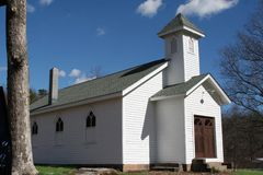 White church. A small historic rural church royalty free stock photo