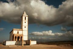 White church and amazing sky Stock Photo