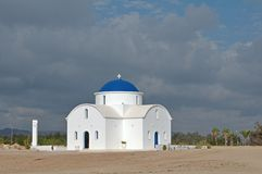 White church on the beach in Paphos Stock Photos