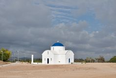 White church on the beach in Paphos Stock Photography
