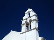 White church bell tower. Stock Image