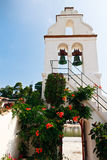 White Church bell tower in Greece Royalty Free Stock Photo
