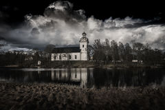 White church in black stock photography