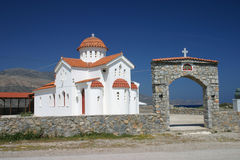 White church, Crete, Greece Stock Images