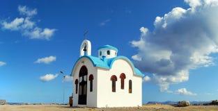 White church on crete panorama Royalty Free Stock Photos