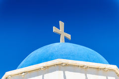 White Church With Cross In Santorini Royalty Free Stock Photo