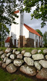 White church, denmark. White danish church from 1700 with stone wall Royalty Free Stock Photo