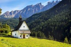 White church in Dolomites, Italy Stock Photos