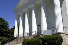 White Church with Doric Columns Royalty Free Stock Photos