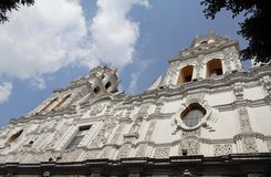 White Church Facade Puebla Mexico Stock Photography
