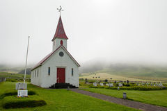 White church on a foggy day in South Iceland Royalty Free Stock Images