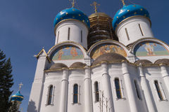 White Church. With frescoes and blue domes Stock Images