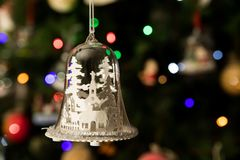 Free White Church In Glass Bell Shape Ornament Hanging On Christmas Tree Royalty Free Stock Photos - 105697538