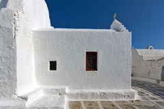 White Church on the island of Mykonos, Cyclades Islands Royalty Free Stock Image
