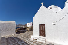 White Church on the island of Mykonos, Cyclades Islands Stock Photo