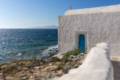 White Church on the island of Mykonos, Cyclades Islands Stock Image