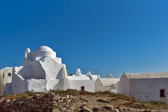 White Church on the island of Mykonos, Cyclades Islands Royalty Free Stock Images