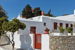White Church on the island of Mykonos, Cyclades Islands Stock Photo