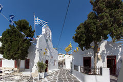 White Church on the island of Mykonos, Cyclades Islands Royalty Free Stock Photography