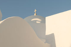 White church with light blue trulli at Paros island in Greece. Stock Photo