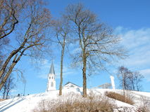 White church, Lithuania. Church of the Assumption of the Blessed Virgin Mary into Heaven in Telsiai, Lithuania Stock Photo