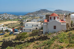 White church and medieval fortress , Mykonos island, Greece Stock Photos