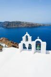 White church in Oia town, Santorini island, Greece Stock Photo