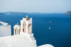 White church in Oia town on Santorini island, Greece Royalty Free Stock Photo