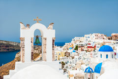 White church in Oia town on Santorini island, Greece Royalty Free Stock Photo