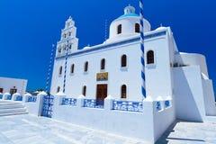 White church of Oia village at Santorini island. Architecture of Oia village at Santorini island, Greece Royalty Free Stock Photos